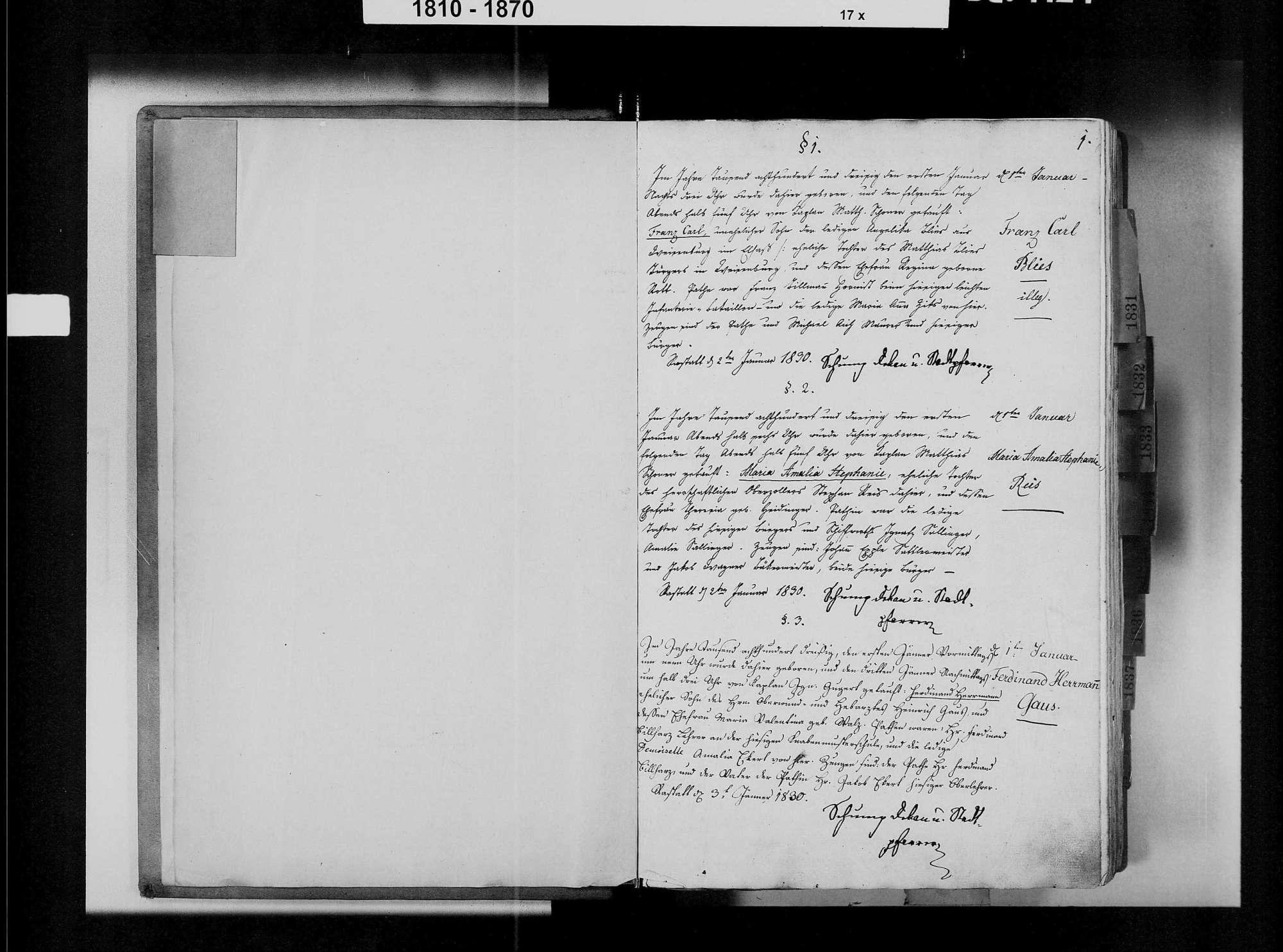 Rastatt, katholische Gemeinde: Geburtenbuch 1830-1839, Bild 3