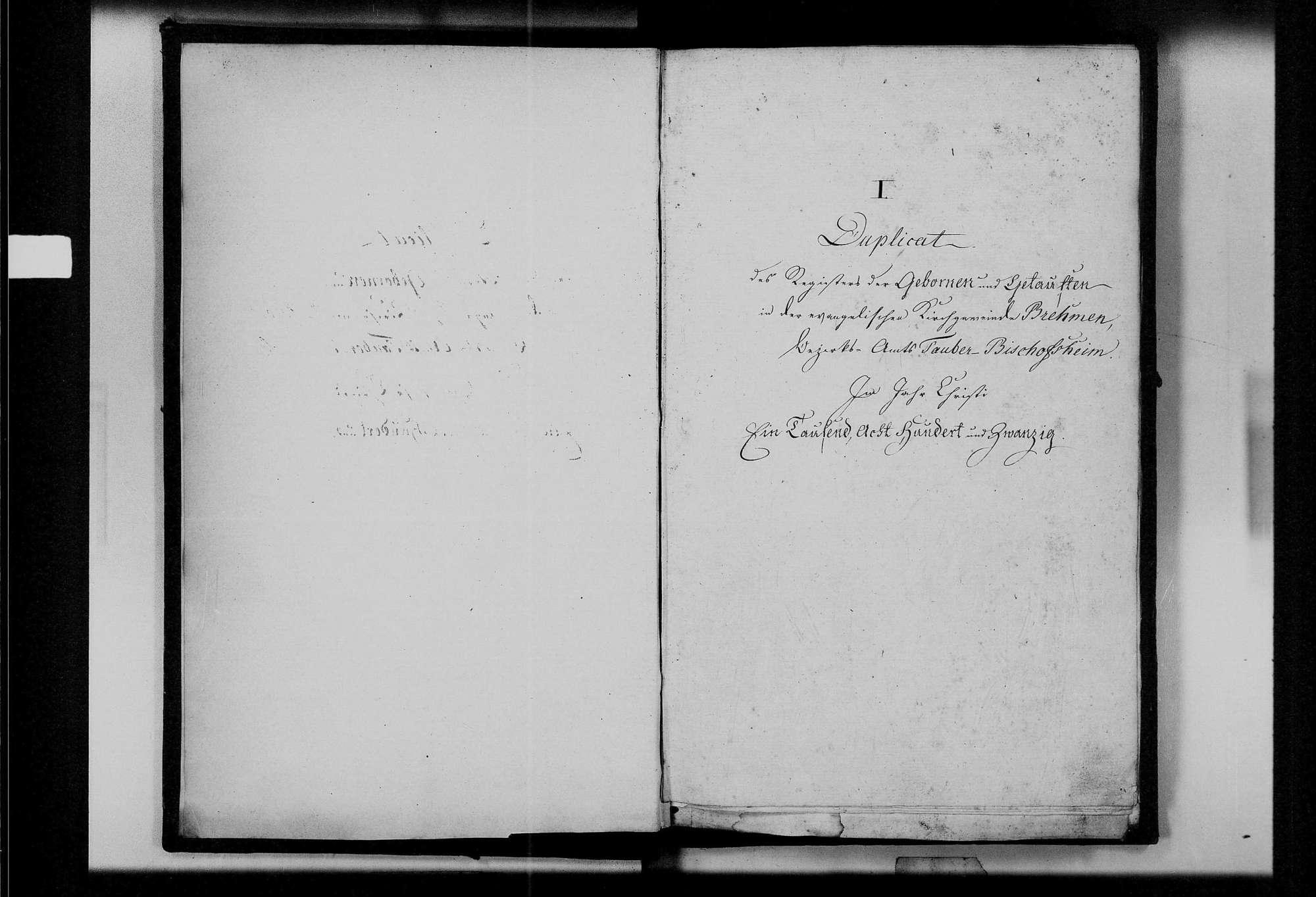 Brehmen, evangelische Gemeinde: Standesbuch 1820-1829, Bild 3
