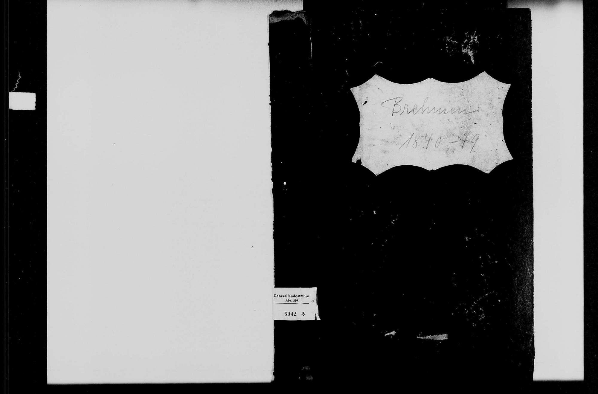 Brehmen, evangelische Gemeinde: Standesbuch 1840-1949, Bild 1
