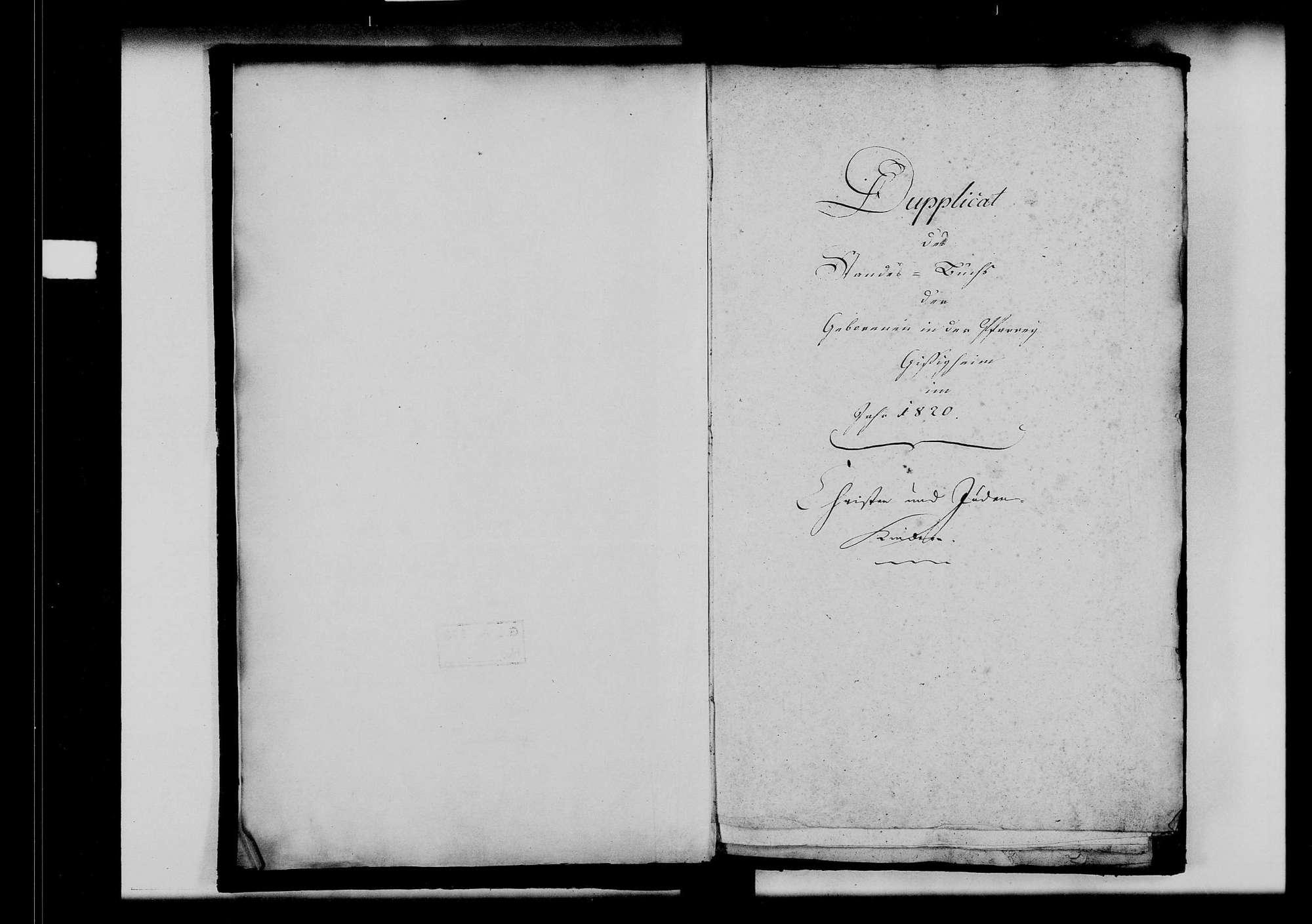 Gissigheim, katholische und israelitische Gemeinde: Standesbuch 1820-1829, Bild 3