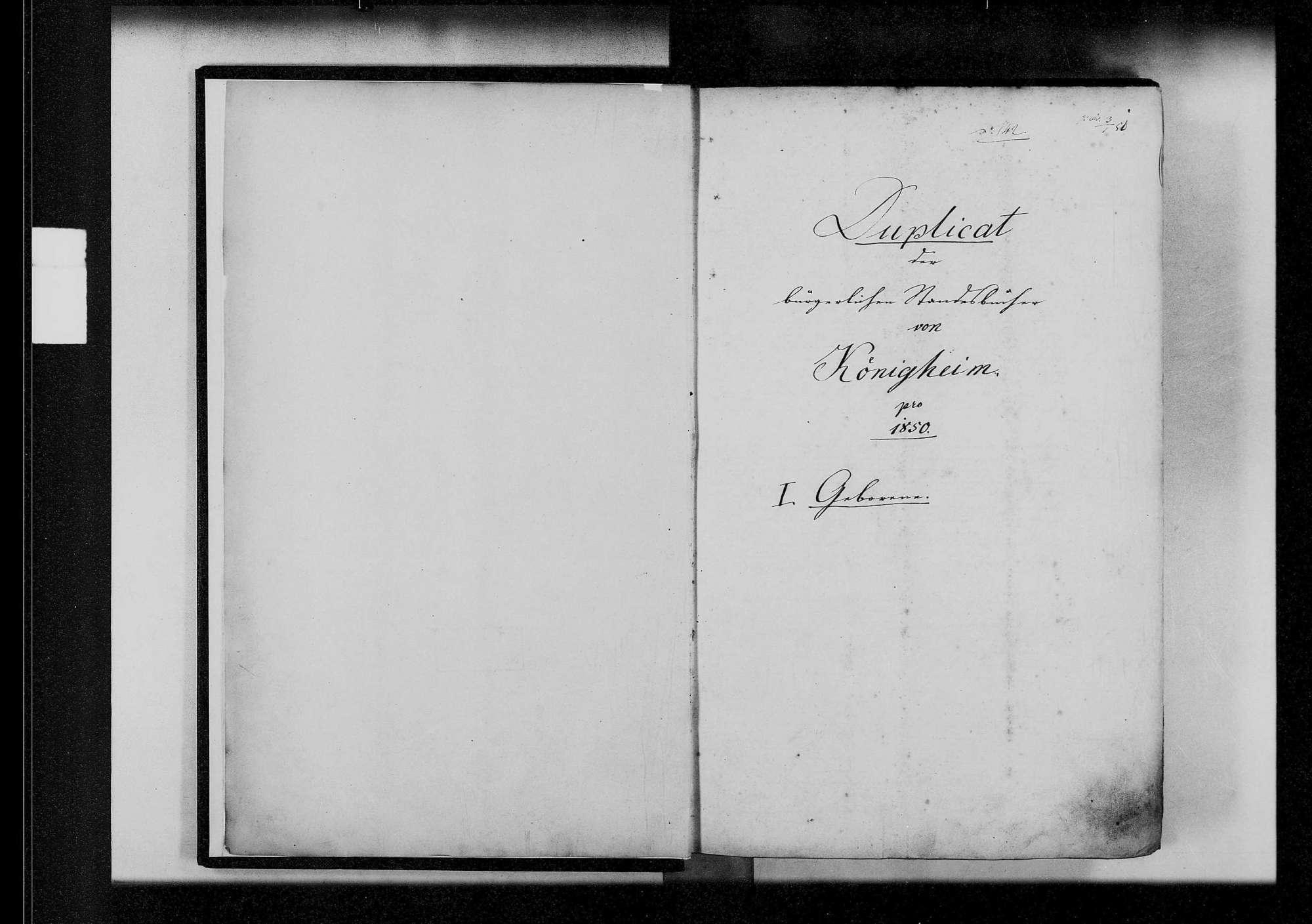 Königheim, katholische und israelitische Gemeinde: Standesbuch 1850-1859, Bild 3