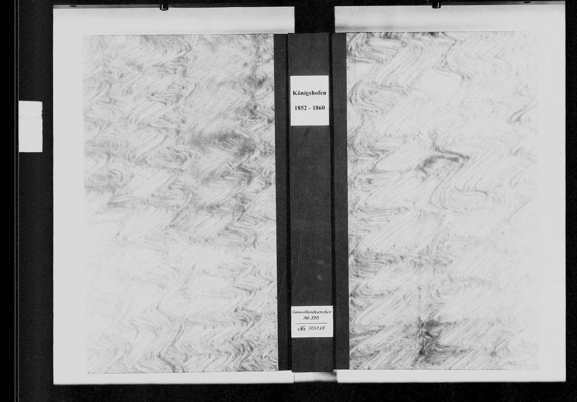 Königshofen, katholische und israelitische Gemeinde: Standesbuch 1852-1860, Bild 1