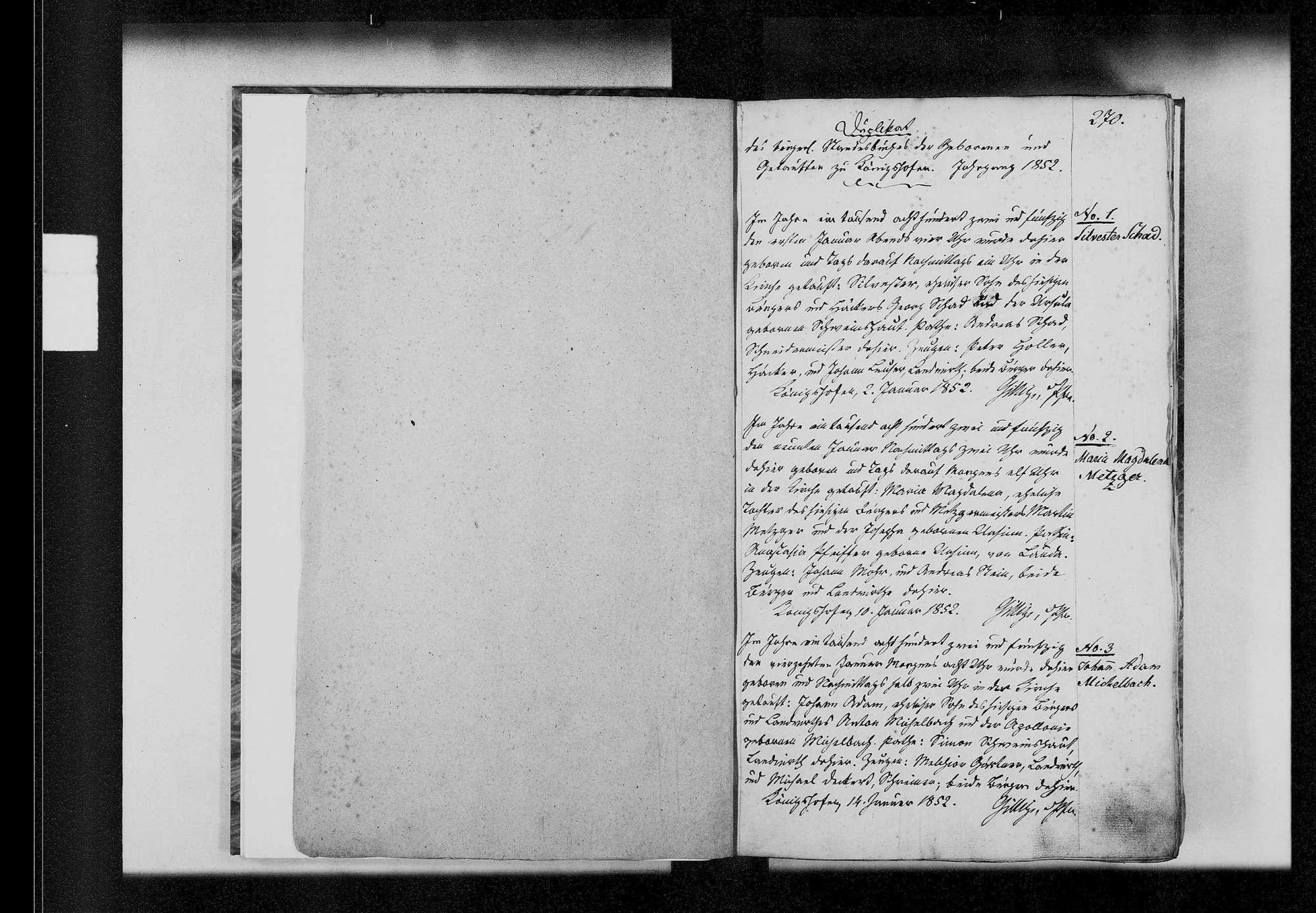 Königshofen, katholische und israelitische Gemeinde: Standesbuch 1852-1860, Bild 3