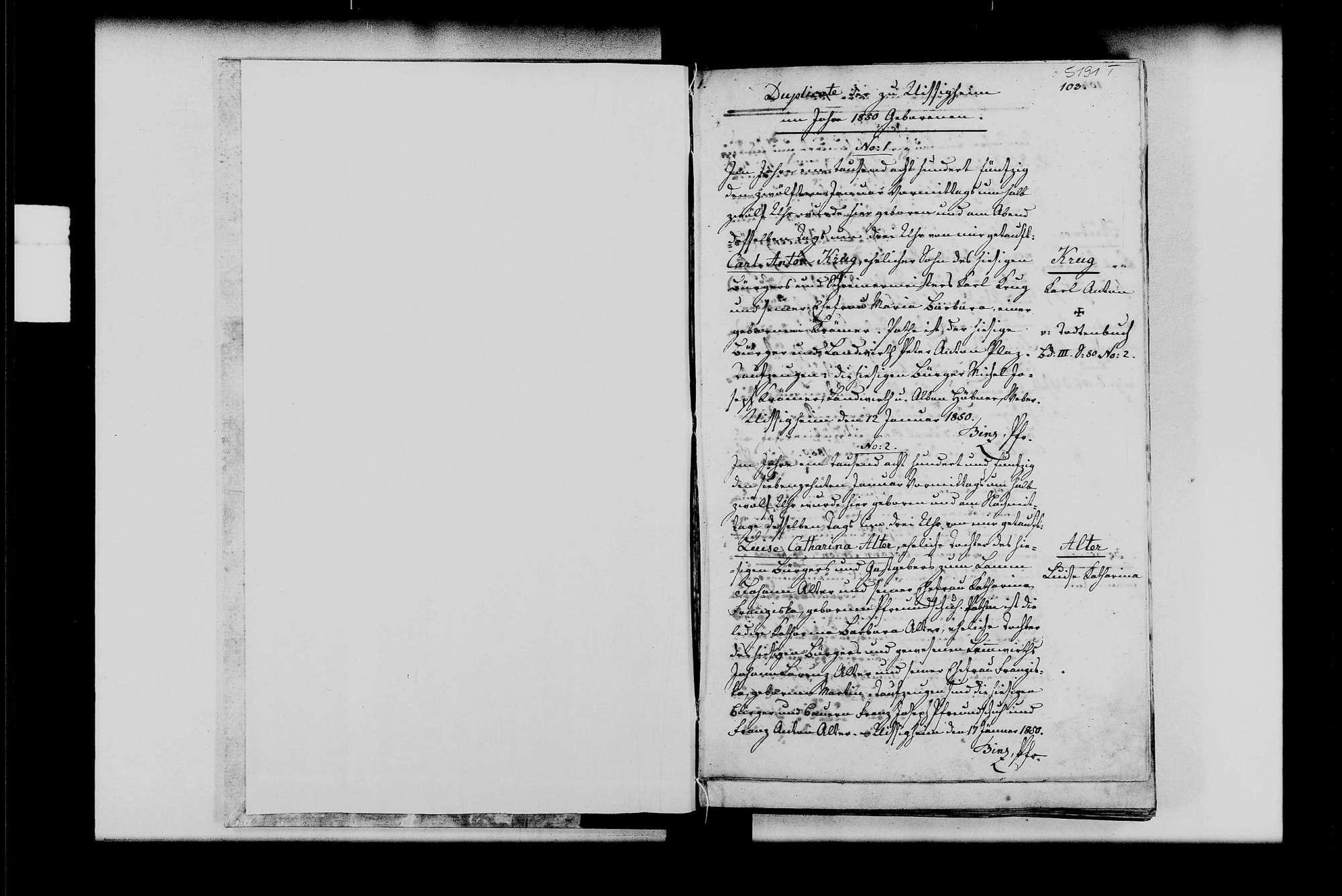 Uissigheim, katholische Gemeinde: Standesbuch 1850-1859, Bild 2
