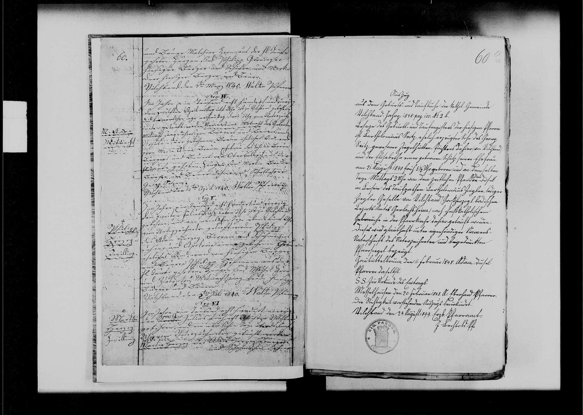 Vilchband, katholische Gemeinde: Standesbuch 1840-1870, Bild 3