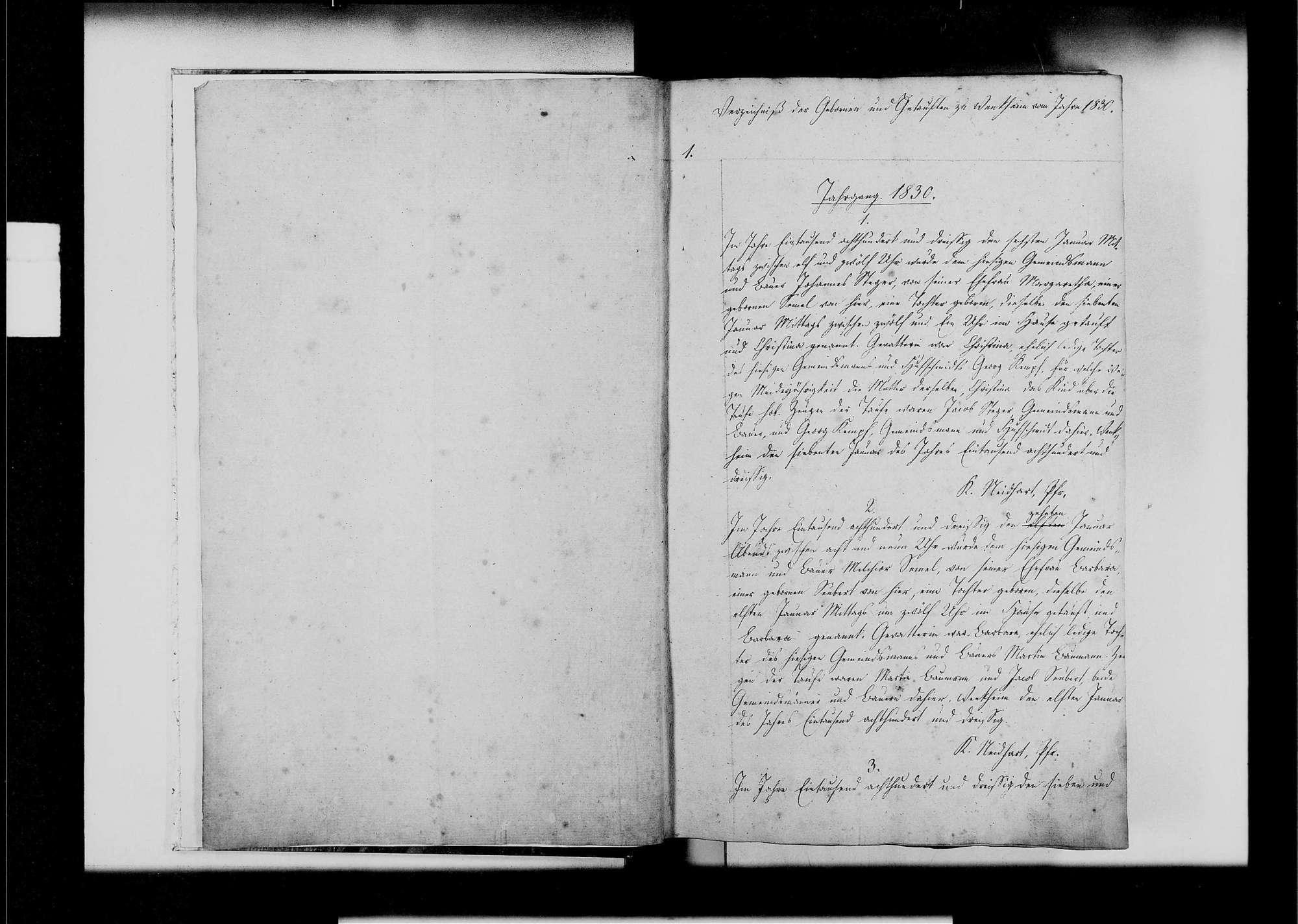 Wenkheim, evangelische, katholische und israelitische Gemeinde: Standesbuch 1830-1839, Bild 3