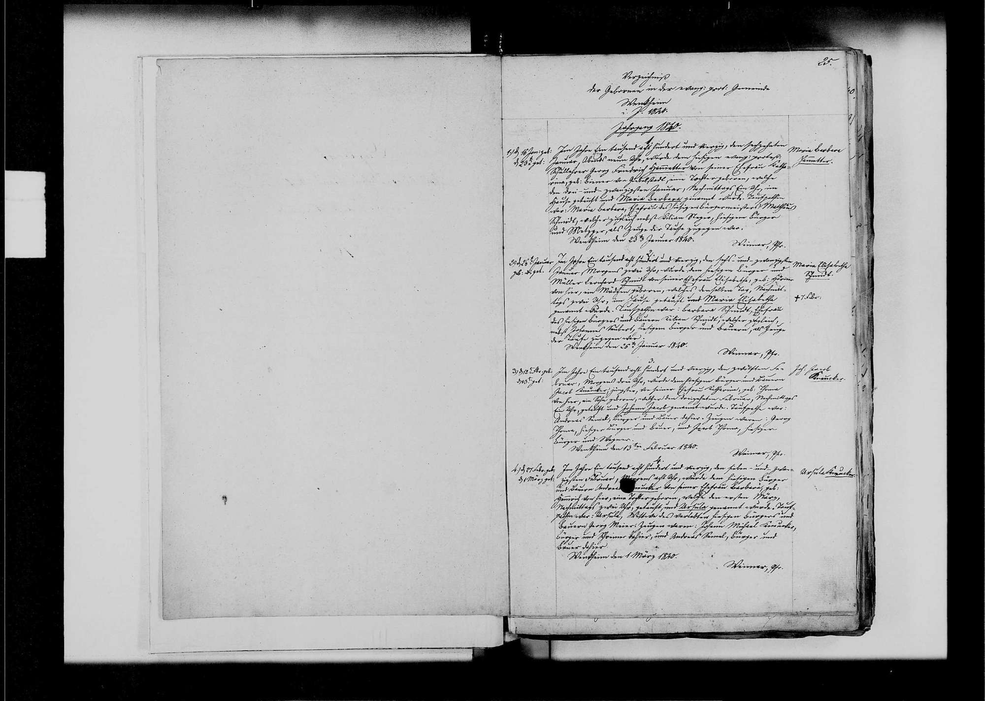 Wenkheim, evangelische, katholische und israelitische Gemeinde: Standesbuch 1840-1849, Bild 3