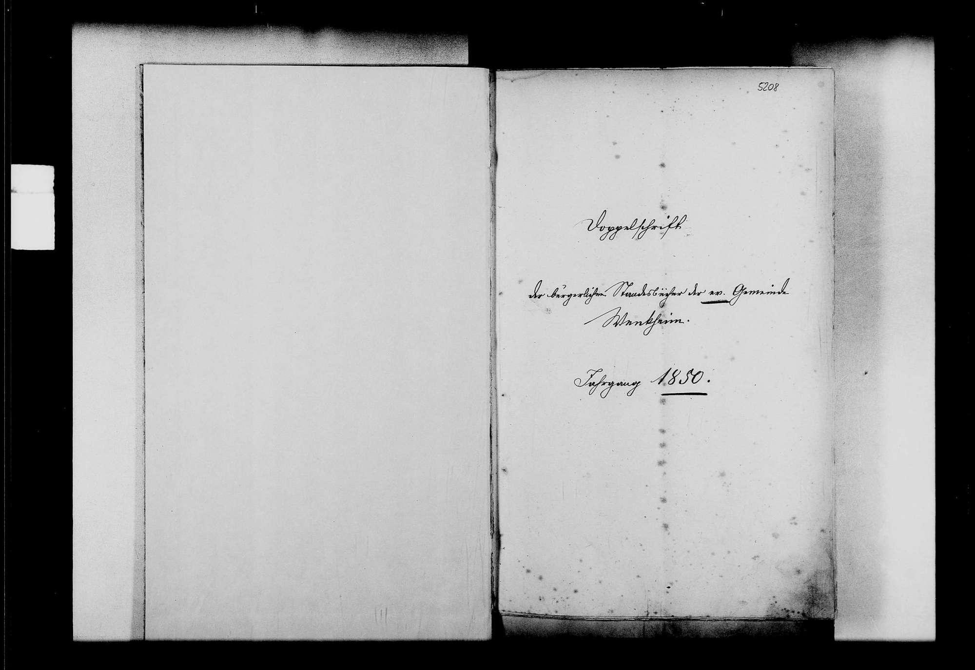 Wenkheim, evangelische, katholische und israelitische Gemeinde: Standesbuch 1850-1859, Bild 2