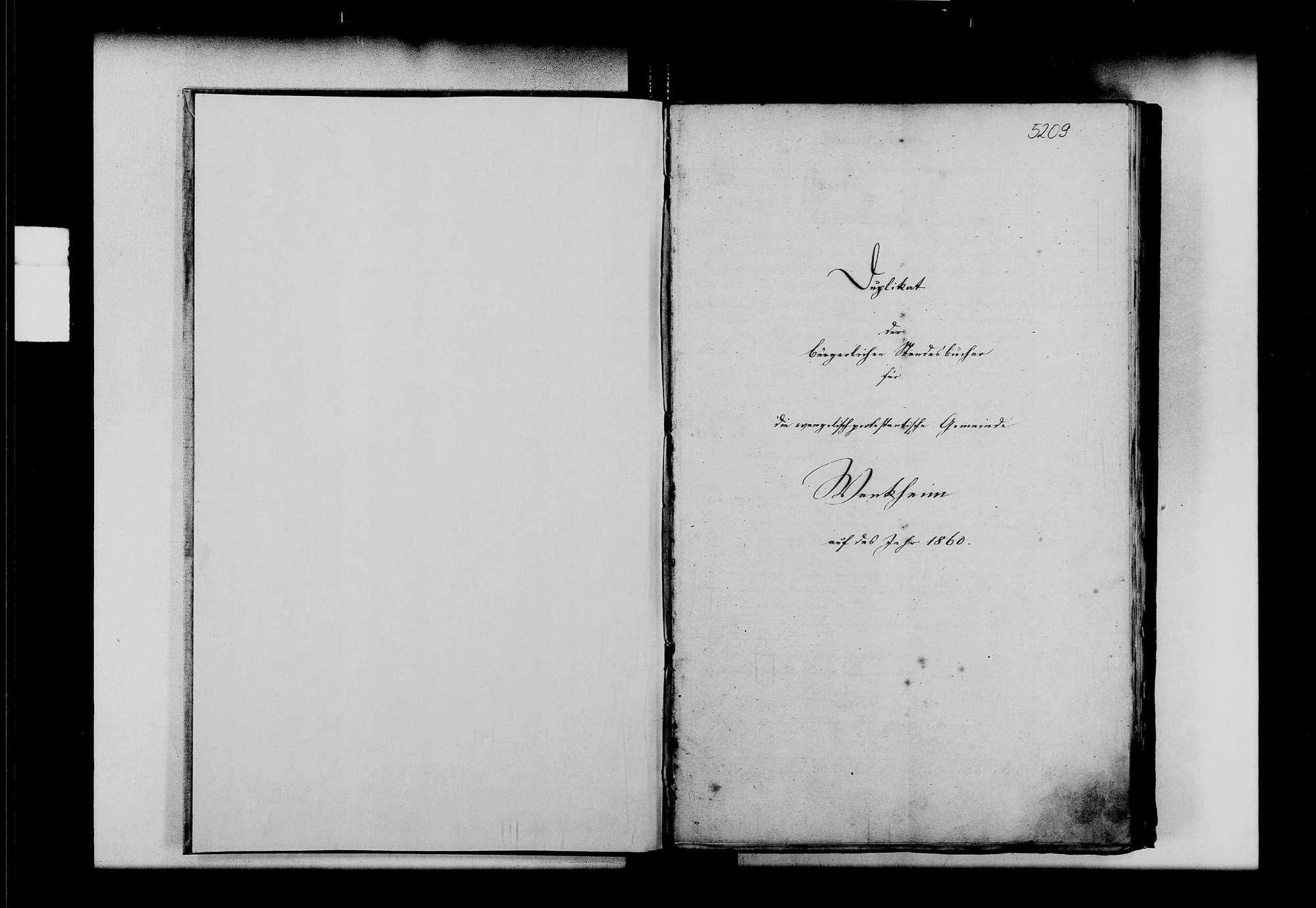 Wenkheim, evangelische, katholische und israelitische Gemeinde: Standesbuch 1860-1870, Bild 2