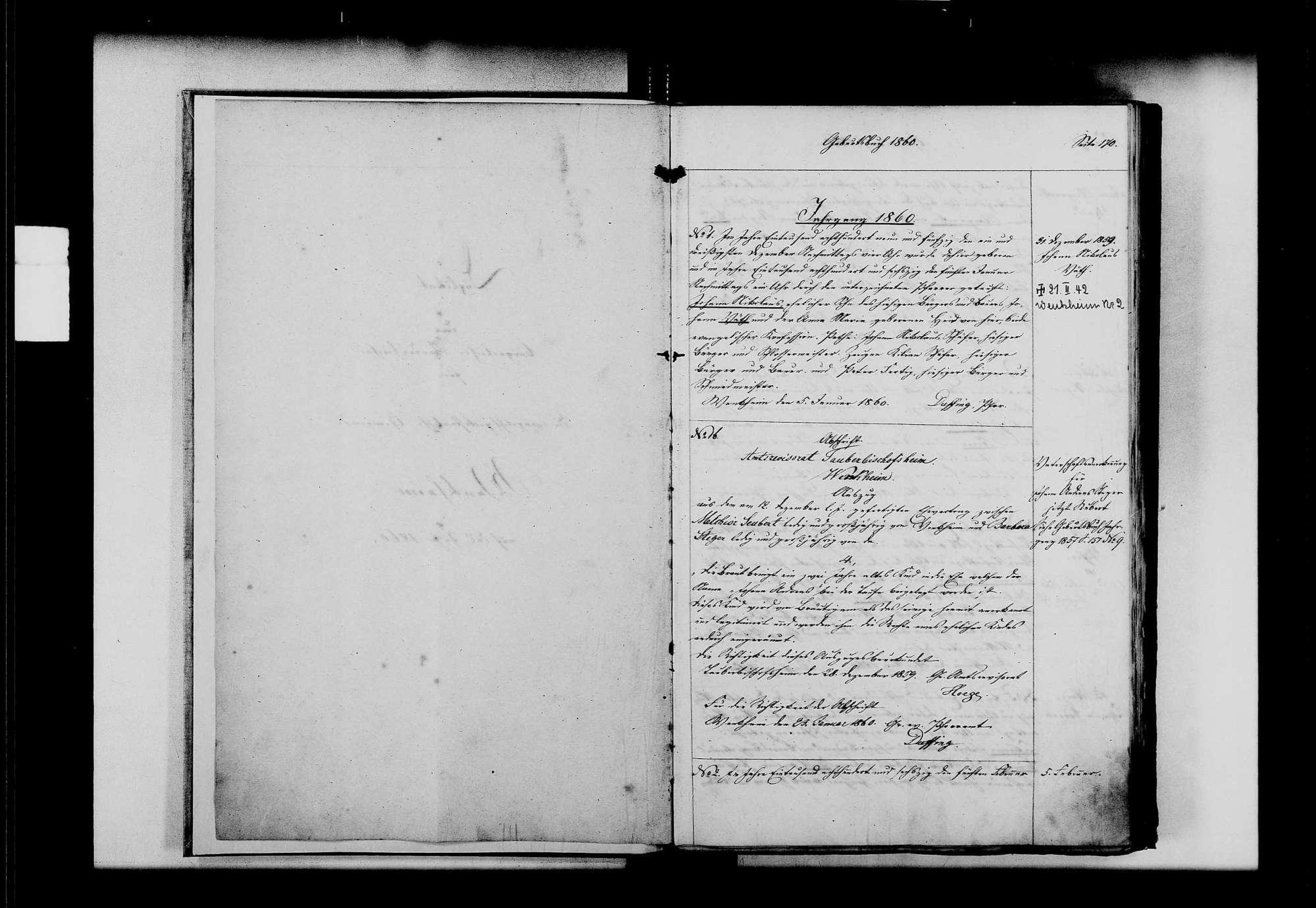 Wenkheim, evangelische, katholische und israelitische Gemeinde: Standesbuch 1860-1870, Bild 3