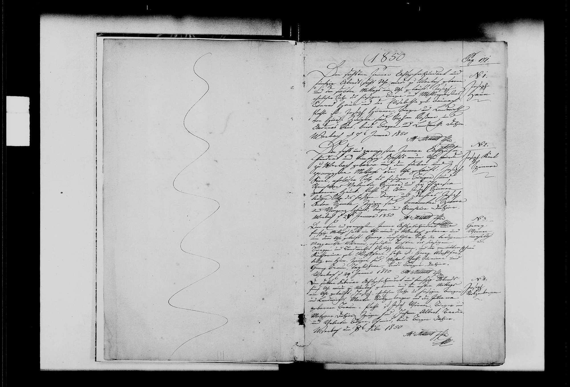 Werbach, katholische Gemeinde: Standesbuch 1850-1859, Bild 3
