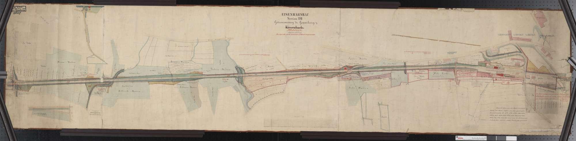Gütervermessung der Eisenbahn auf der Gemarkung (Kiesenbach) Albbruck Streckenausschnitt: 317,6 bis 319,9 km, Bild 1