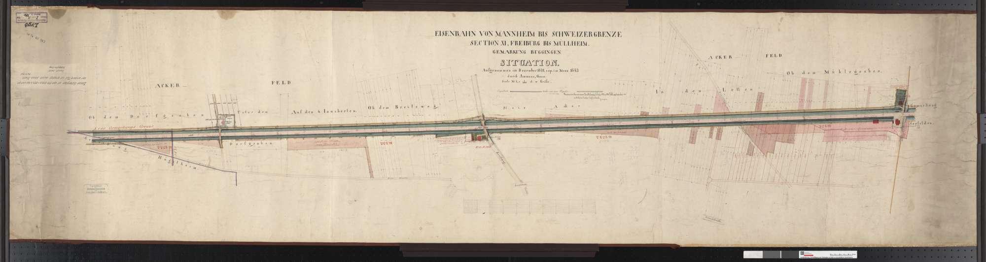 Situationsplan der Bahn von Mannheim bis Schweizer Grenze, Abschnitt Freiburg bis Müllheim: Gemarkung Buggingen Streckenausschnitt: 231,8 bis 233,6 km, Bild 1