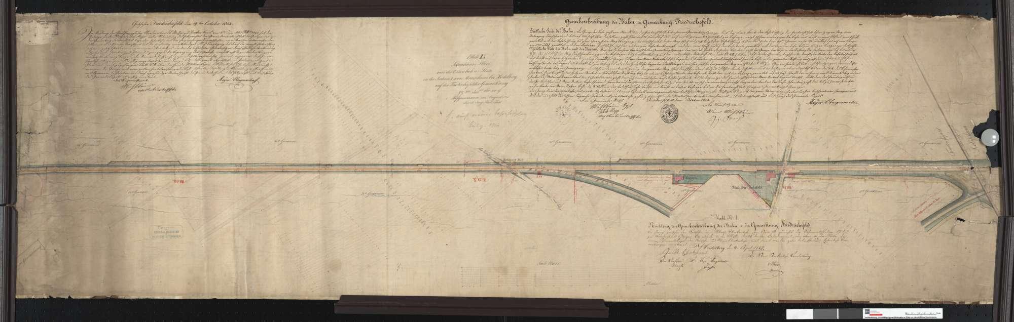 Situationsplan der Hauptbahn in der Gemarkung Friedrichsfeld Streckenausschnitt: 8,7 bis 10,2 km, Bild 1