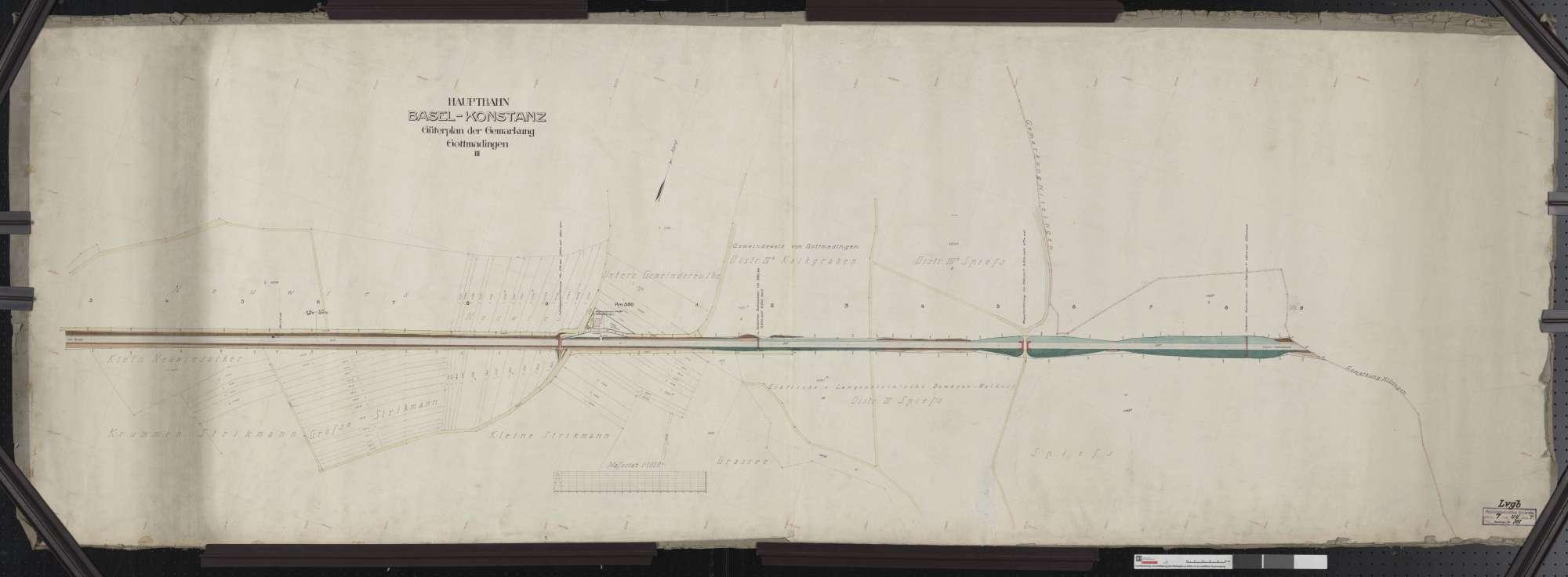 Güterplan der Hauptbahn von Basel bis Konstanz: Gemarkung Gottmadingen Streckenausschnitt: 379,3 bis 380,9 km, Bild 1