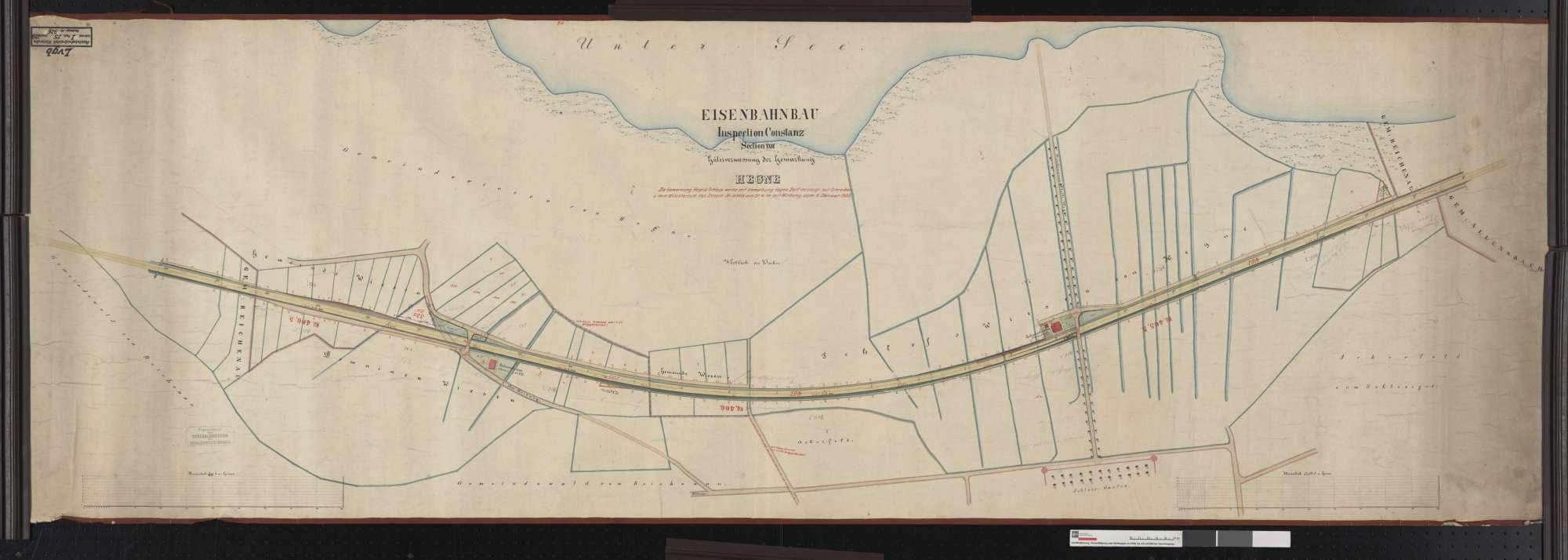 Gütervermessung der Eisenbahn, Inspektion Konstanz: Gemarkung Hegne Streckenausschnitt: 405,2 bis 406,6 km, Bild 1
