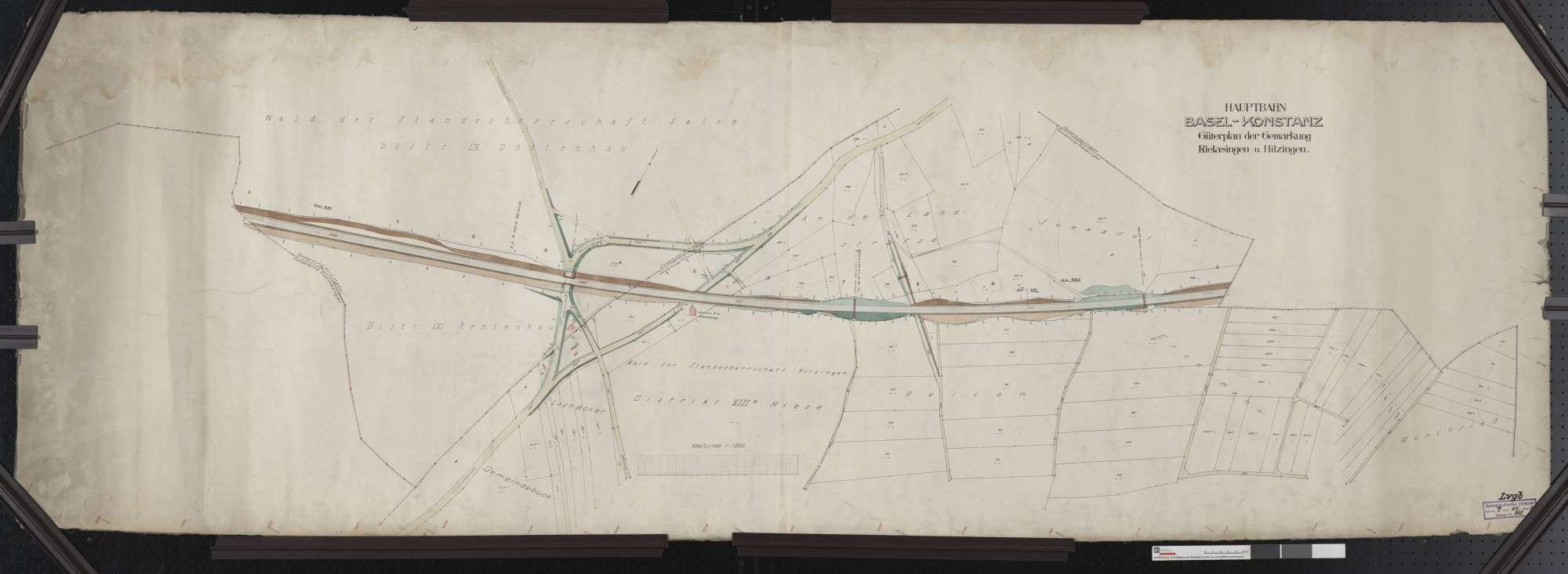 Güterplan der Hauptbahn von Basel bis Konstanz: Gemarkungen Hilzingen und Rielasingen Streckenausschnitt: 380,9 bis 382,2 km, Bild 1