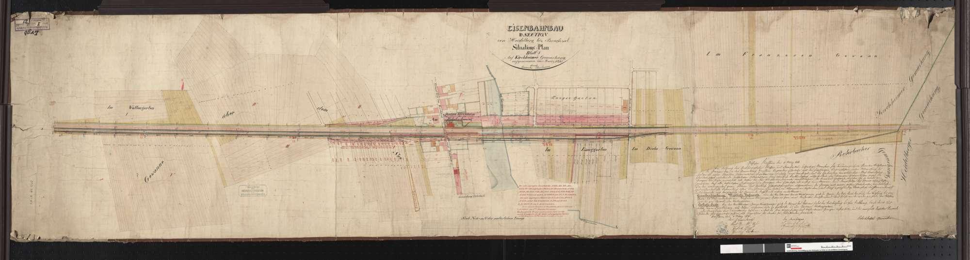 Situationsplan der Bahn von Heidelberg bis Bruchsal: Gemarkung Kirchheim Streckenausschnitt: 21,3 bis 22,9 km, Bild 1