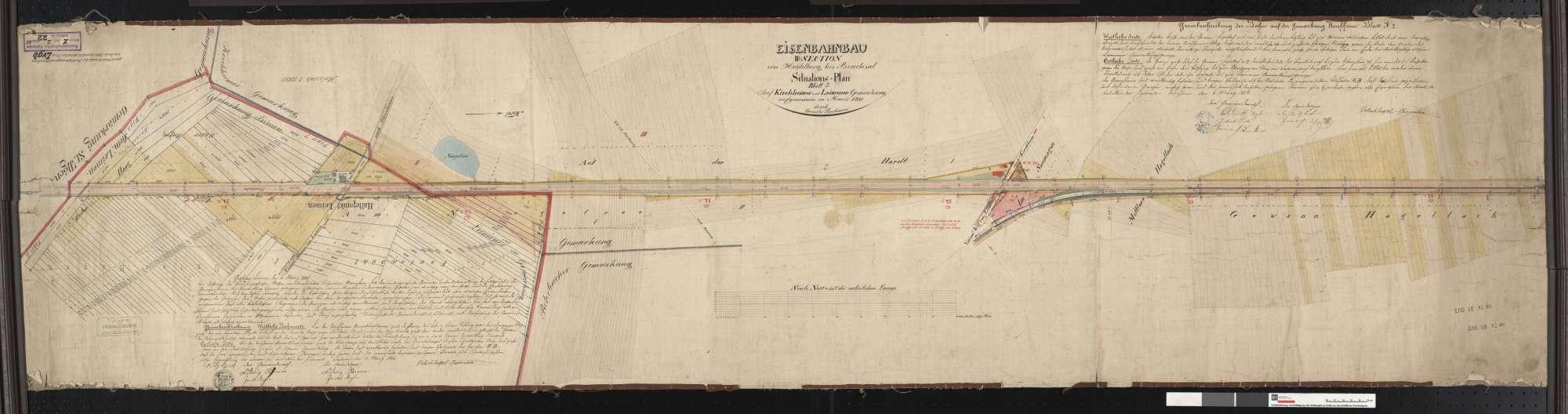 Situationsplan der Bahn von Heidelberg bis Bruchsal: Gemarkung Kirchheim und Gemarkung Leimen Streckenausschnitt: 23,0 bis 24,8 km, Bild 1