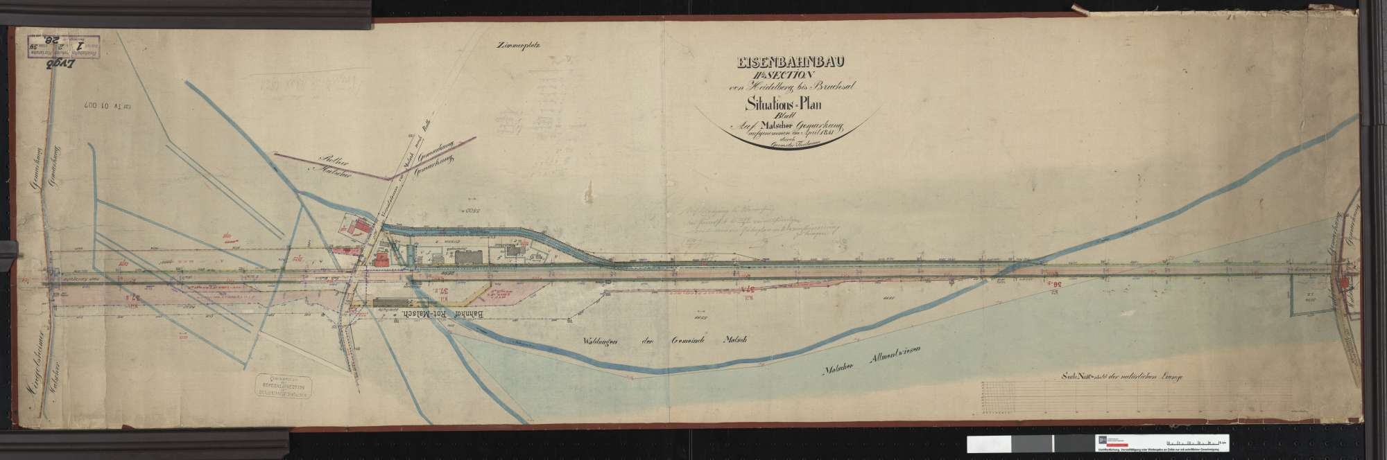 Situationsplan der Bahn von Heidelberg bis Bruchsal: Gemarkung Malsch Streckenausschnitt: 36,6 bis 37,9 km, Bild 1