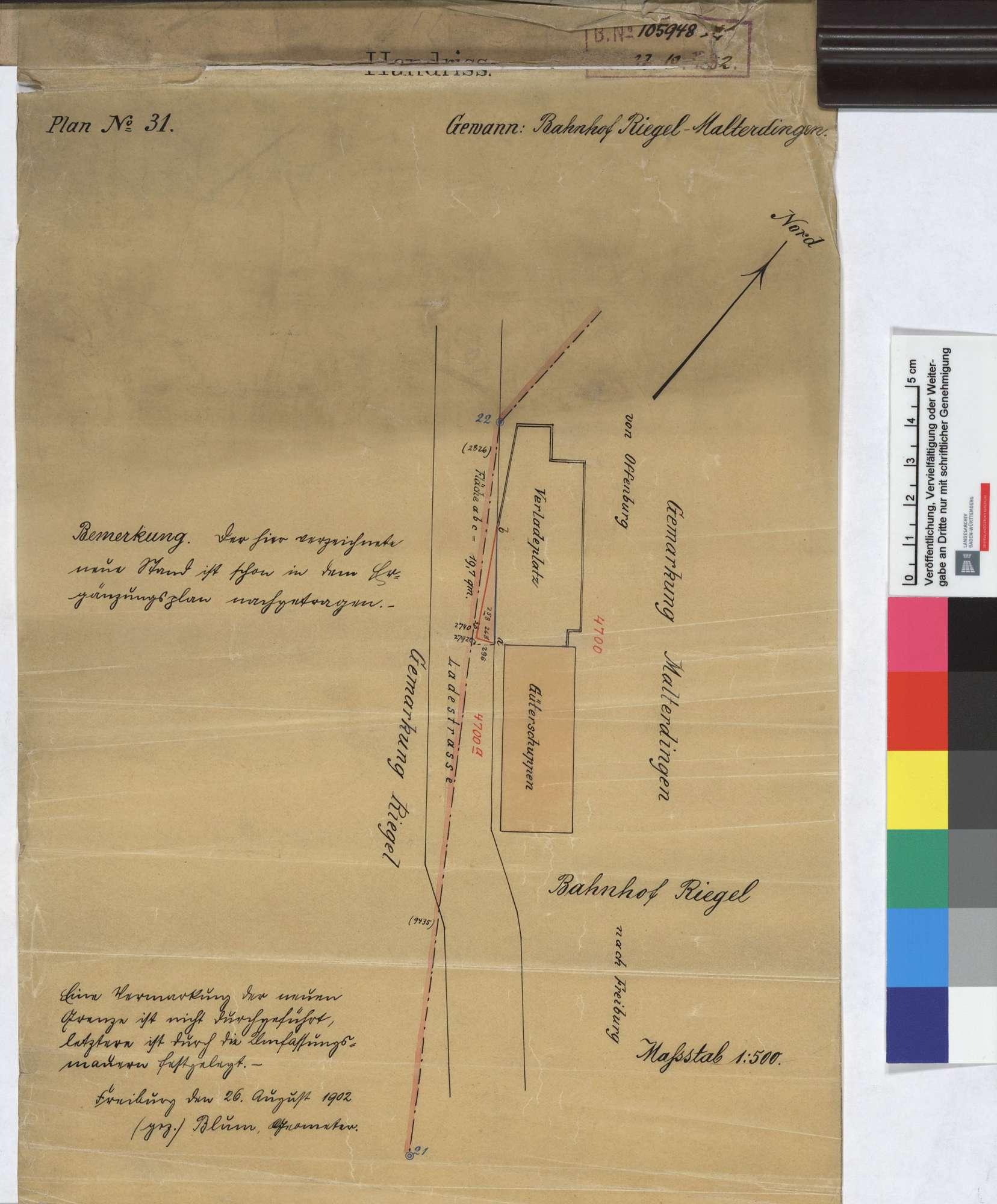 Situationsplan der Bahn und der daraufstoßenden Grundstücke: Gemarkung Malterdingen Streckenausschnitt: 185,7 bis 186,8 km, Bild 2