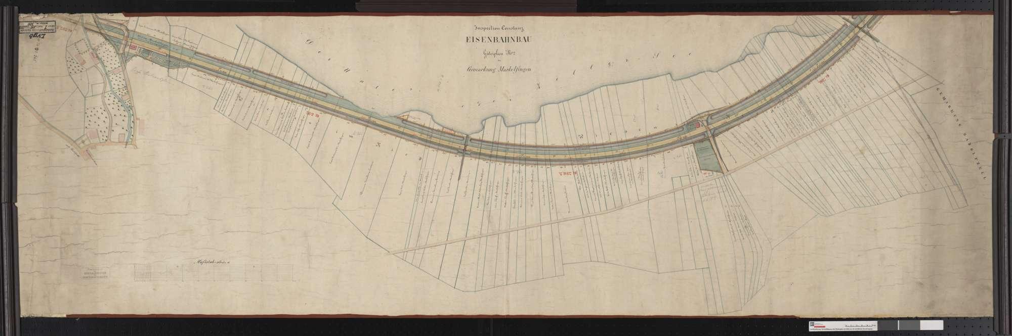 Güterplan der Eisenbahn, Inspektion Konstanz: Gemarkung Markelfingen Streckenausschnitt: 395,9 bis 397,5 km, Bild 1