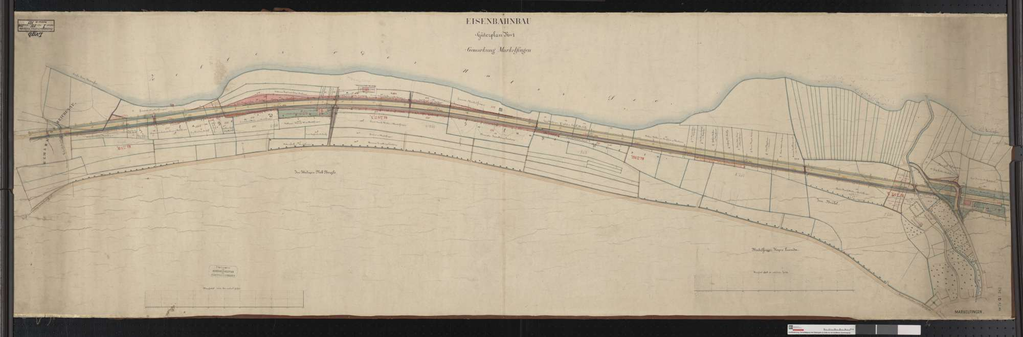 Güterplan der Eisenbahn auf der Gemarkung Markelfingen Streckenausschnitt: 397,3 bis 399,1 km, Bild 1