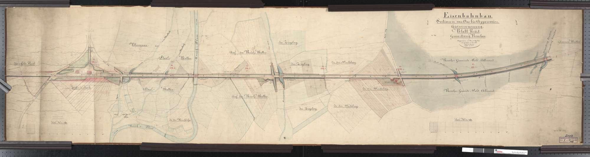Gütervermessung der Bahn von Oos bis Appenweier: Gemarkung Renchen Streckenausschnitt: 131,4 bis 133,5 km, Bild 1