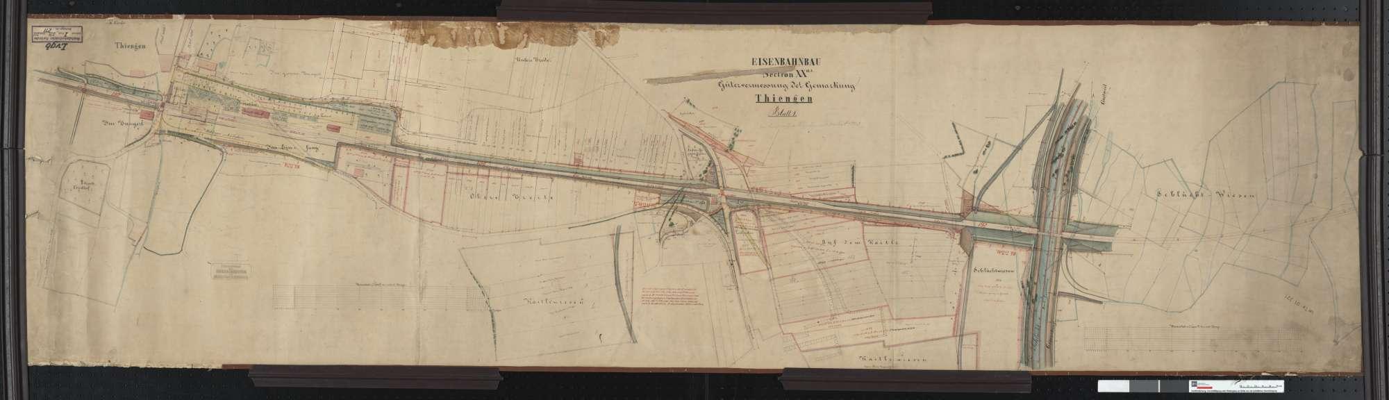 Gütervermessung der Eisenbahn auf der Gemarkung Tiengen Streckenausschnitt: 330,0 bis 331,3 km, Bild 1