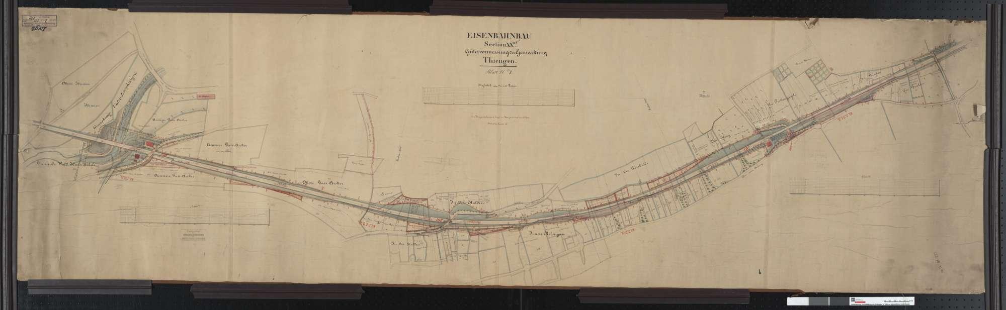 Gütervermessung der Eisenbahn auf der Gemarkung Tiengen Streckenausschnitt: 331,3 bis 333,0 km, Bild 1