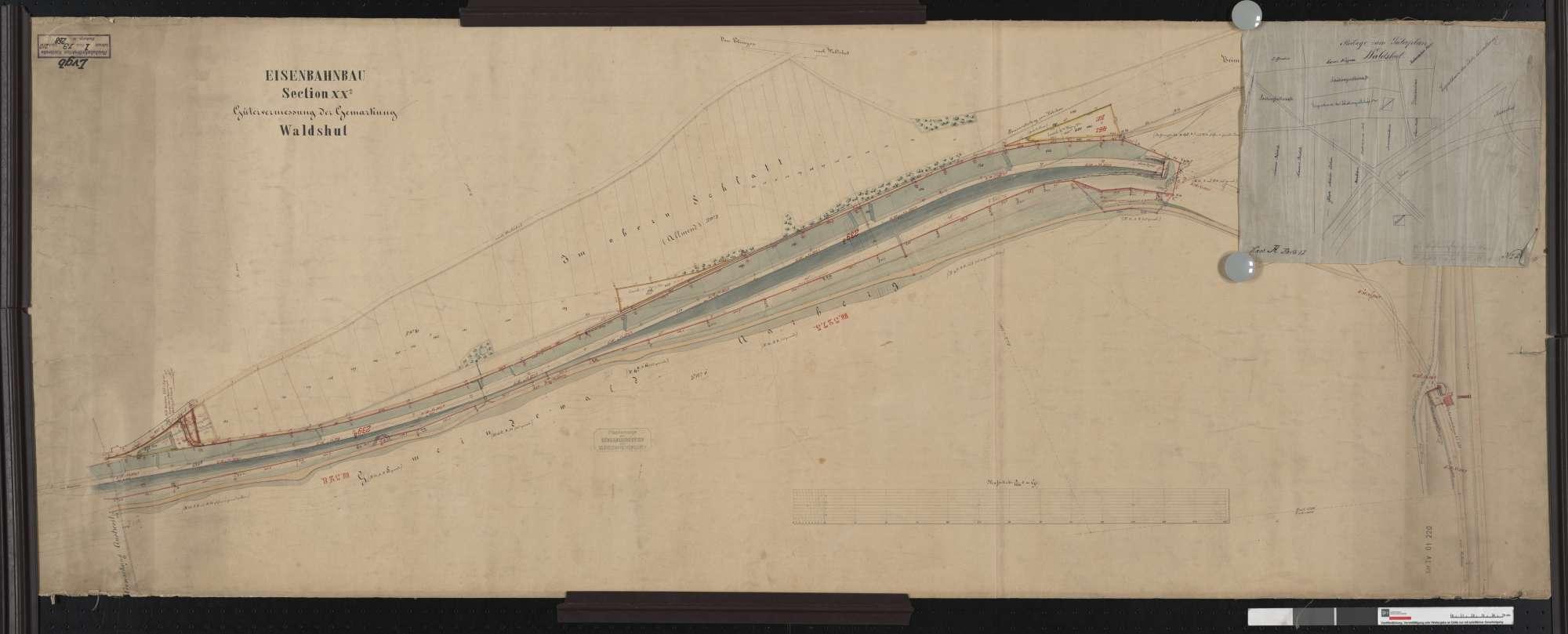 Gütervermessung der Eisenbahn auf der Gemarkung Waldshut Streckenausschnitt: 326,6 bis 328,2 km, Bild 2