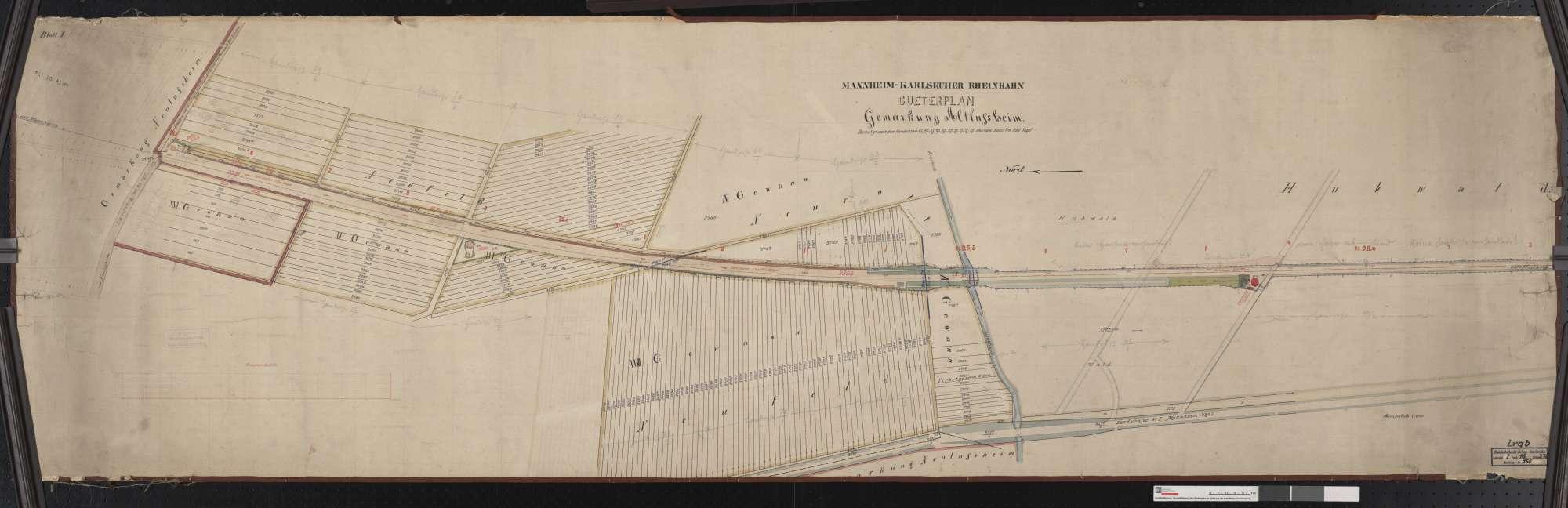 Güterplan der Mannheim-Karlsruher Rheinbahn: Gemarkung Altlußheim Streckenausschnitt: 24,5 bis 26,2 km, Bild 1