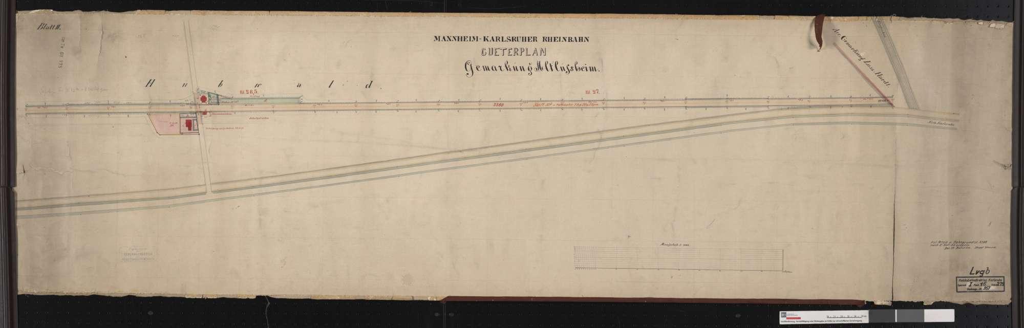 Güterplan der Mannheim-Karlsruher Rheinbahn: Gemarkung Altlußheim Streckenausschnitt: 26,2 bis 27,4 km, Bild 1