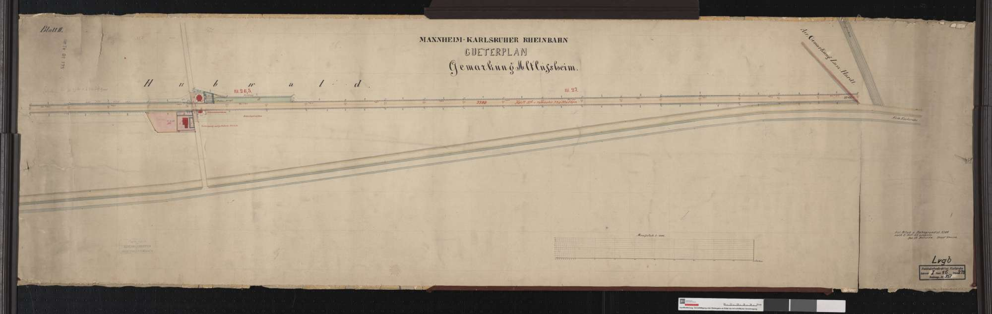 Güterplan der Mannheim-Karlsruher Rheinbahn: Gemarkung Altlußheim Streckenausschnitt: 26,2 bis 27,4 km, Bild 2
