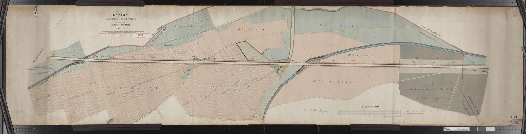 Güterplan der Bahn von Karlsruhe bis Röschwoog (Mitte Rhein): Gemarkung Bulach Streckenausschnitt: 63,5 bis 65,6 km, Bild 1