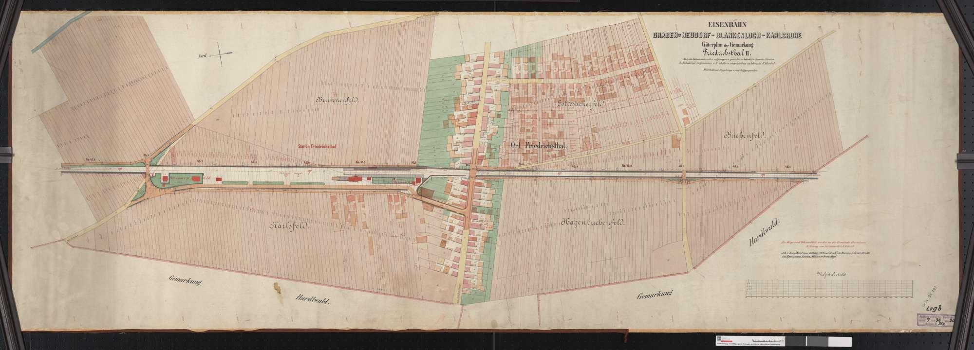 Güterplan der Eisenbahn Graben-Blankenloch-Karlsruhe: Gemarkung Friedrichstal Streckenausschnitt: 45,0 bis 46,3 km, Bild 1
