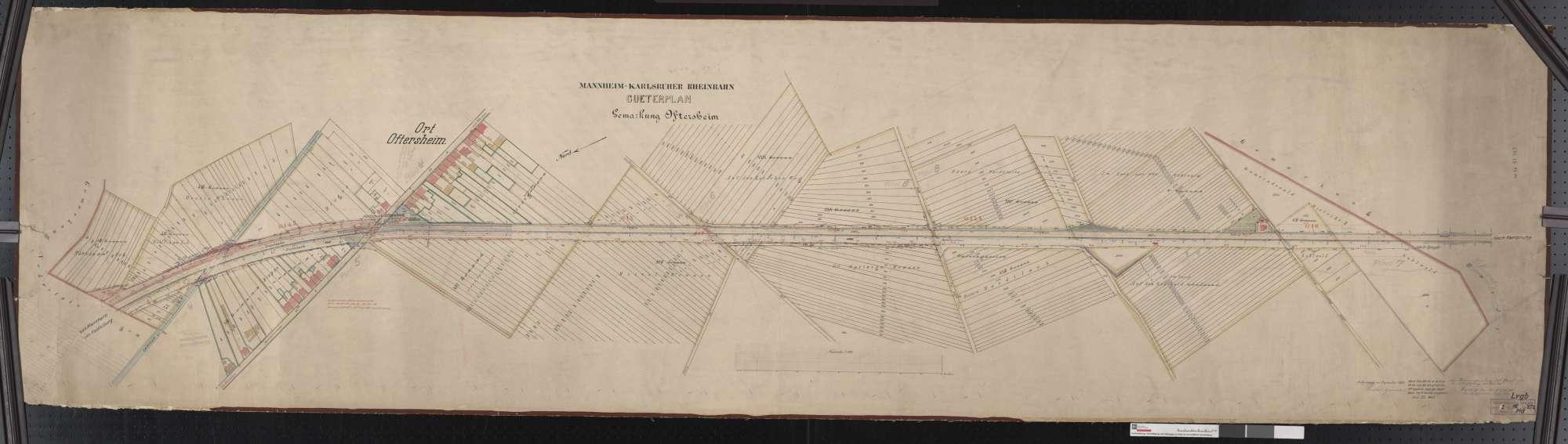 Güterplan der Mannheim-Karlsruher Rheinbahn: Gemarkung Oftersheim Streckenausschnitt: 14,3 bis 16,2 km, Bild 1