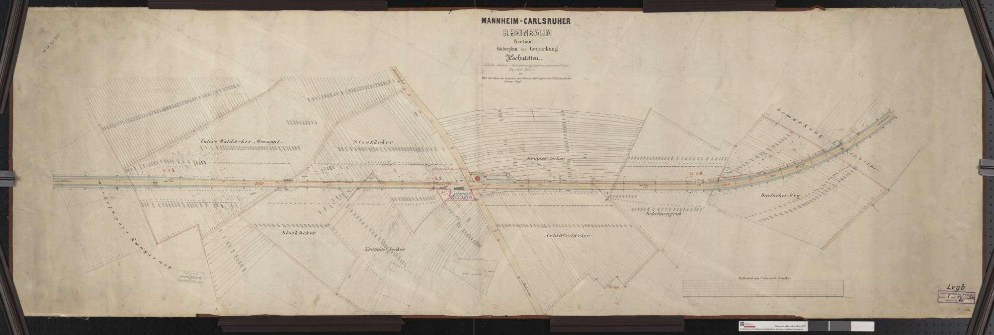 Güterplan der Mannheim-Karlsruher Rheinbahn: Gemarkung Hochstetten Streckenausschnitt: 44,8 bis 46,4 km, Bild 1