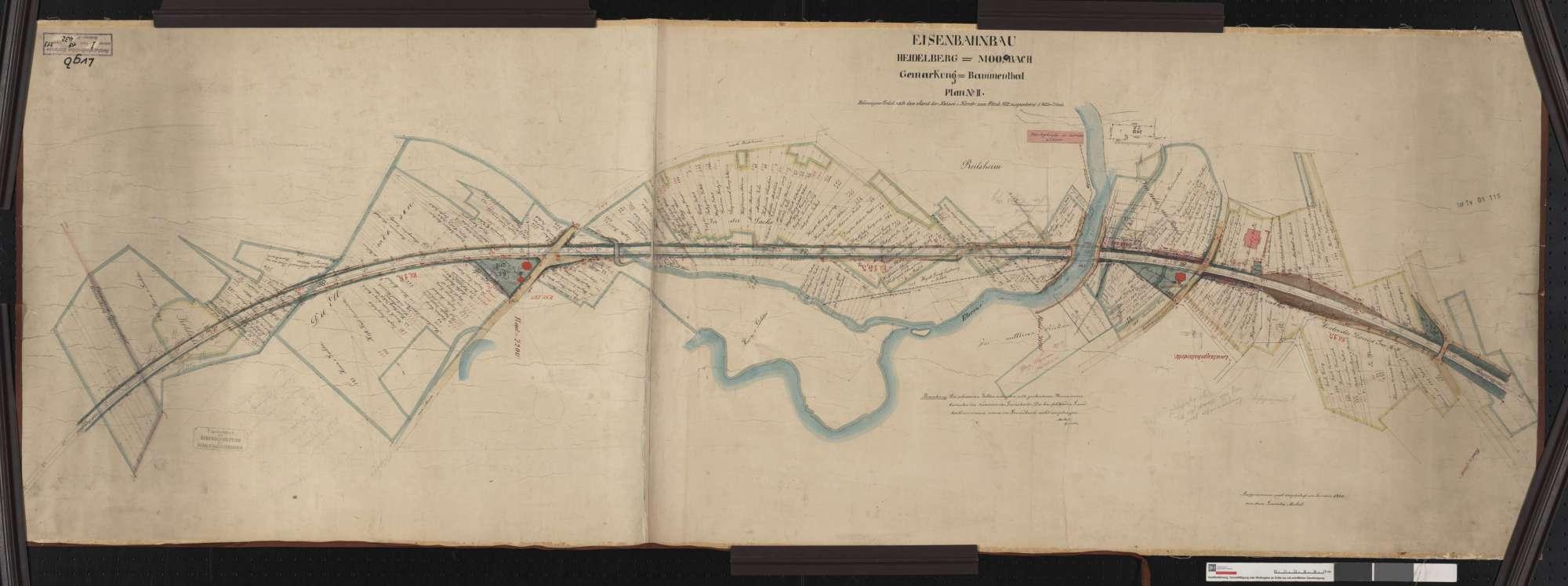 Situationsplan der Bahn von Heidelberg bis Mosbach: Gemarkung Bammental Streckenausschnitt: 14,9 bis 16,3 km, Bild 1