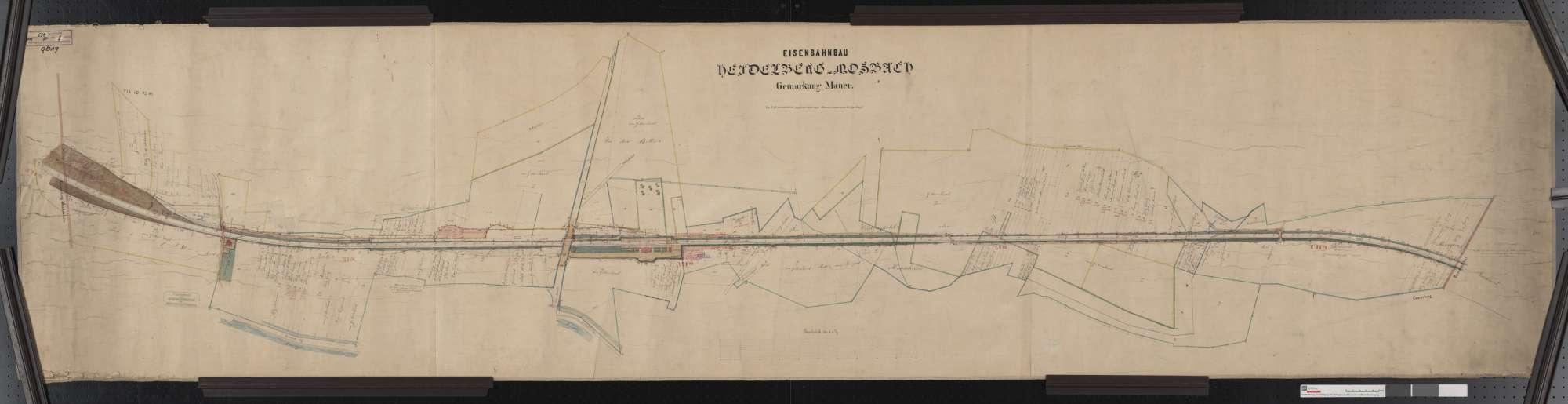Situationsplan der Bahn von Heidelberg bis Mosbach: Gemarkung Mauer Streckenausschnitt: 16,3 bis 18,5 km, Bild 1