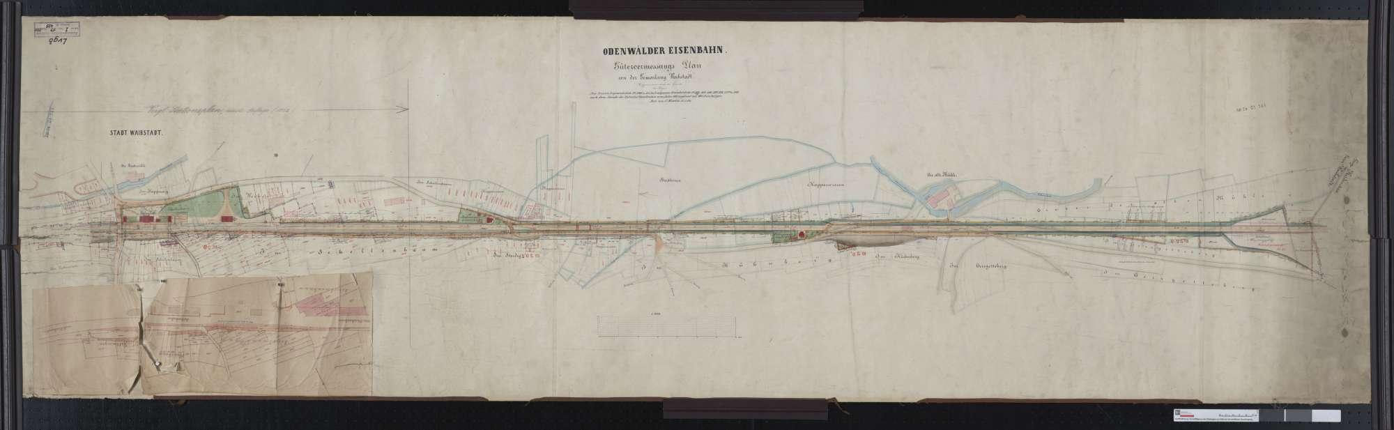 Gütervermessung der Odenwälder Eisenbahn: Gemarkung Waibstadt Streckenausschnitt: 28,3 bis 30,2 km, Bild 1