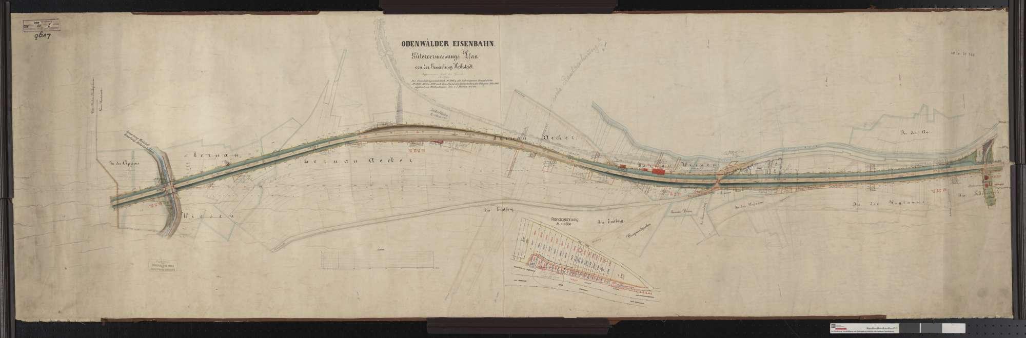 Gütervermessung der Odenwälder Eisenbahn: Gemarkung Waibstadt Streckenausschnitt: 31,4 bis 33,1 km, Bild 1