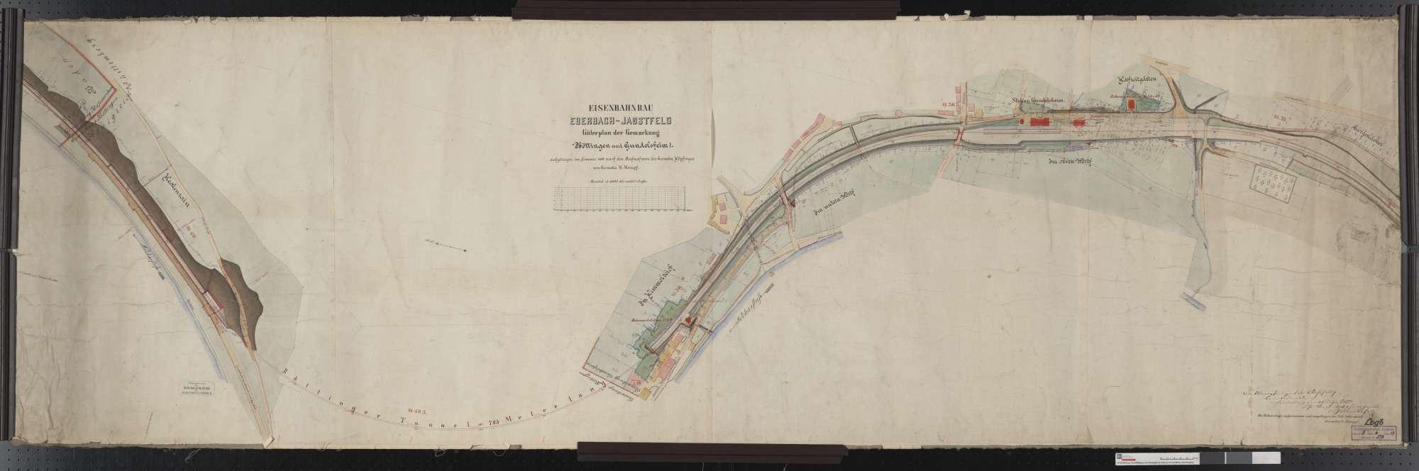 Gütervermessung der Bahn von Eberbach bis Jagstfeld: Gemarkungen Böttingen und Gundelsheim Streckenausschnitt: 48,7 bis 51,2 km, Bild 1
