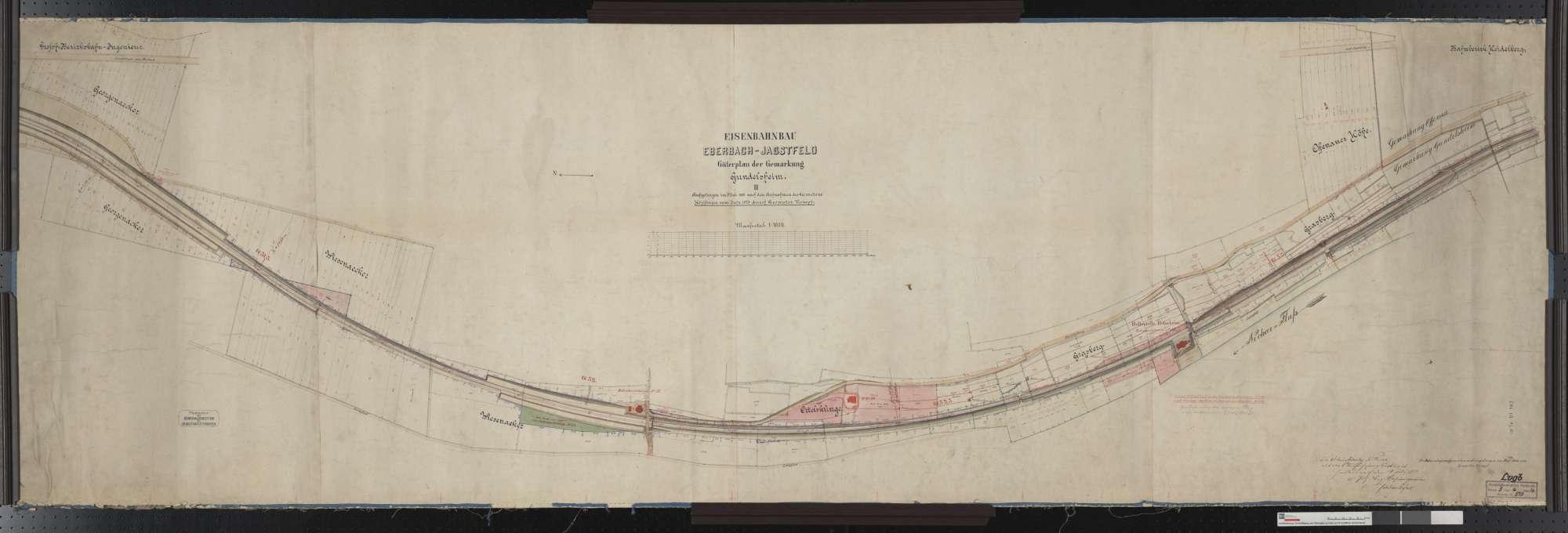 Gütervermessung der Bahn von Eberbach bis Jagstfeld: Gemarkung Gundelsheim Streckenausschnitt: 51,2 bis 53,4 km, Bild 1