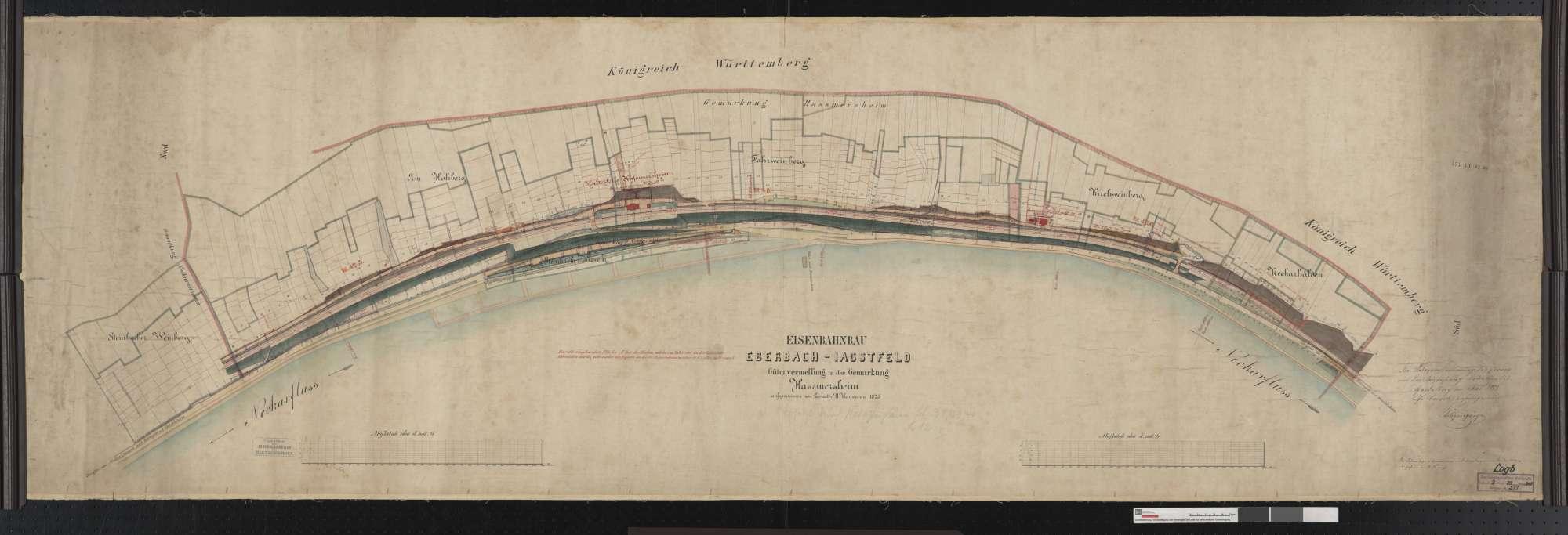 Gütervermessung der Bahn von Eberbach bis Jagstfeld: Gemarkung Haßmersheim Streckenausschnitt: 47,3 bis 48,8 km, Bild 1