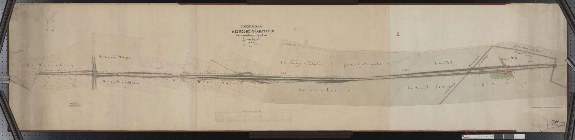 Gütervermessung der Bahn von Meckesheim bis Jagstfeld: Gemarkung Grombach Streckenausschnitt: 21,0 bis 23,1 km, Bild 1