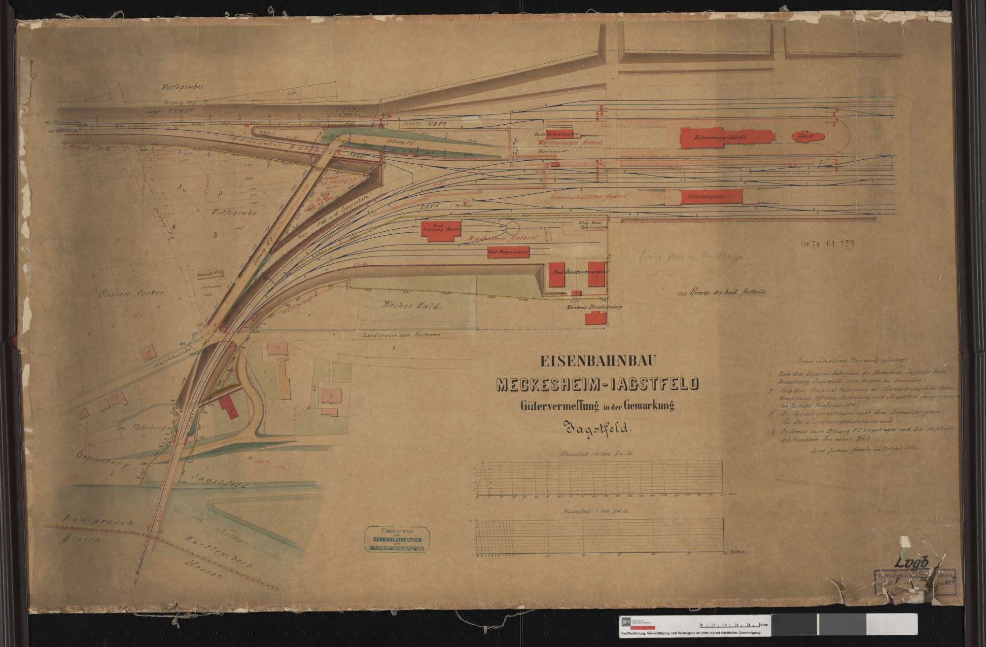 Bahn von Meckesheim bis Jagstfeld: Lageplan über die Baulinien zwischen der Römerstraße und der Bahnhofstraße in Jagstfeld Streckenausschnitt: 35,7 bis 36,4 km, Bild 1