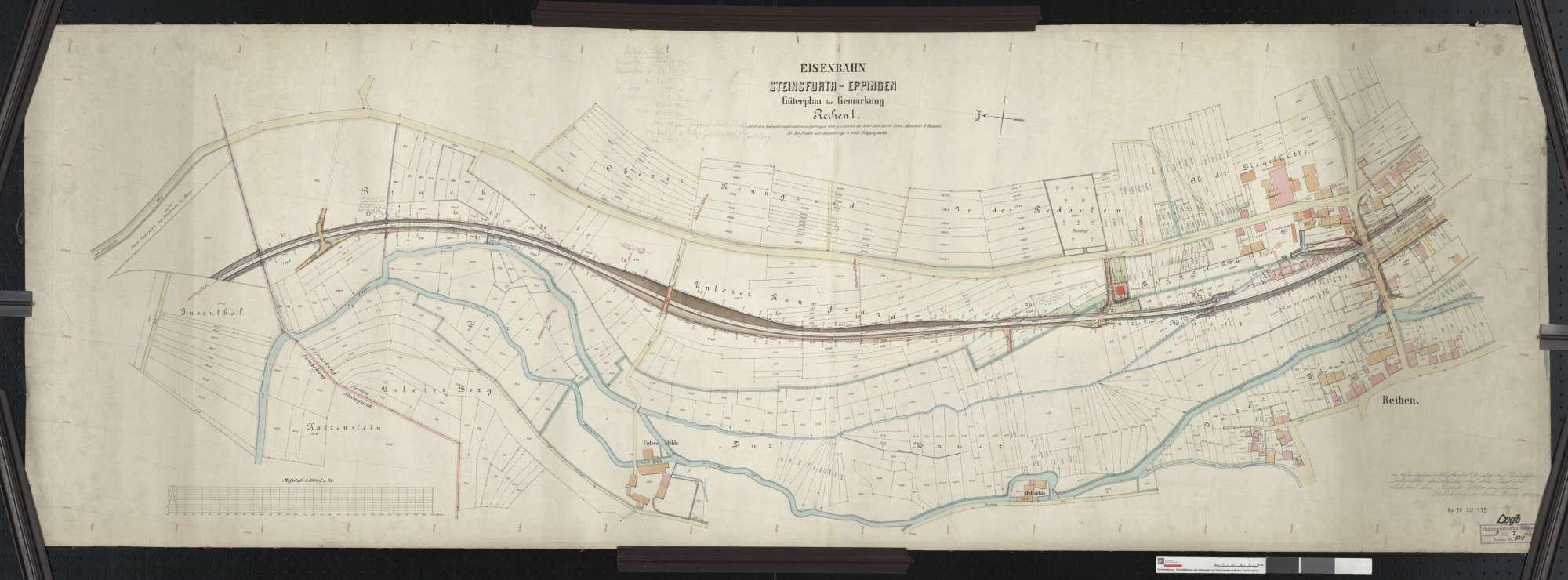 Güterplan der Bahn von Steinsfurt bis Eppingen: Gemarkung Reihen Streckenausschnitt: 1,1 bis 2,5 km, Bild 1
