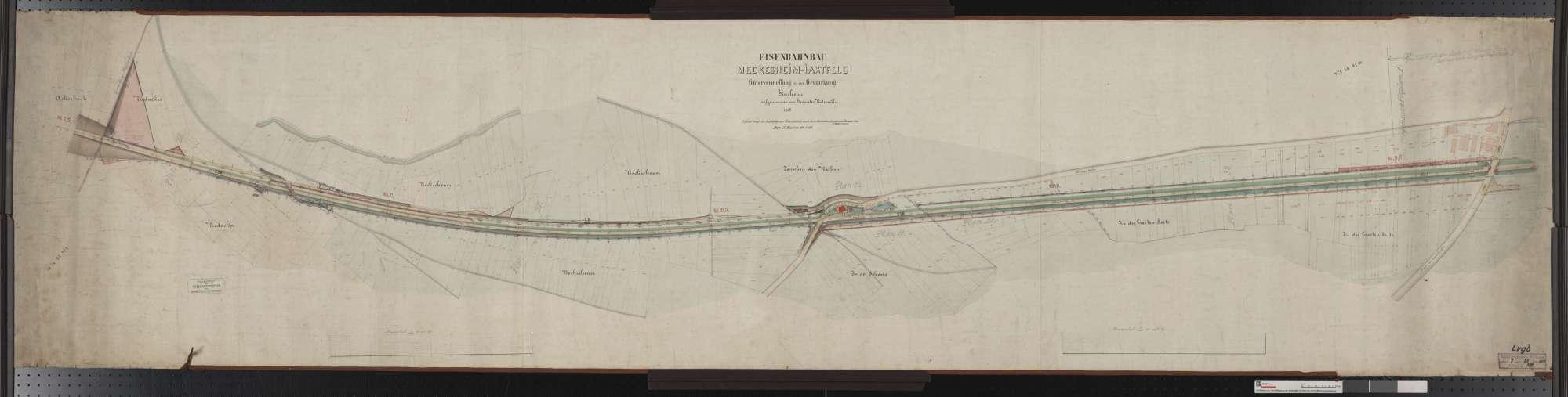 Gütervermessung der Bahn von Meckesheim bis Jagstfeld: Gemarkung Sinsheim Streckenausschnitt: 7,5 bis 9,7 km, Bild 1