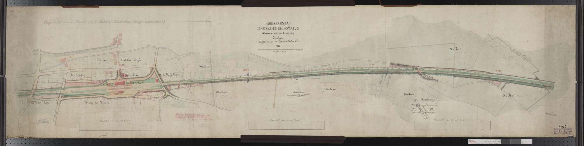 Gütervermessung der Bahn von Meckesheim bis Jagstfeld: Gemarkung Sinsheim Streckenausschnitt: 9,6 bis 11,7 km, Bild 1